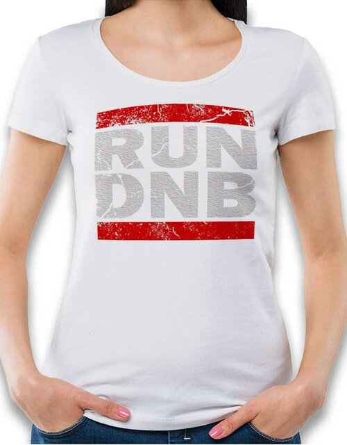 Run Dnb Vintage Damen T-Shirt weiss L