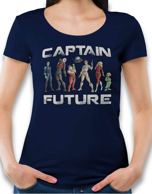 Captain Future Damen T-Shirt dunkelblau L