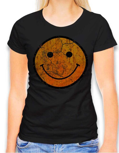 Smiley Vintage Damen T-Shirt schwarz L