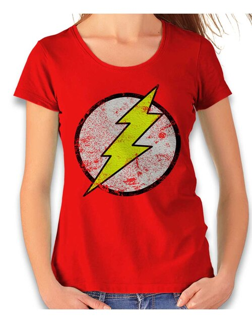 Flash Logo Vintage Damen T-Shirt rot L