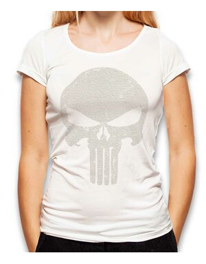 Punisher Vintage Skull Damen T-Shirt weiss L