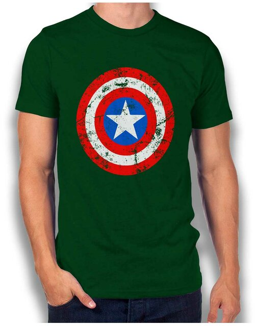 Captain America Shield Vintage T-Shirt dunkelgruen L