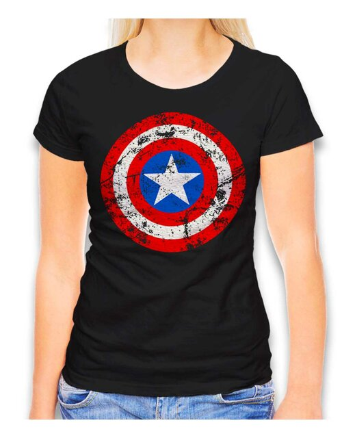 Captain America Shield Vintage Womens T-Shirt black L