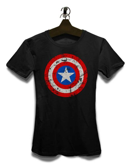 Captain America Shield Vintage Damen T-Shirt schwarz L