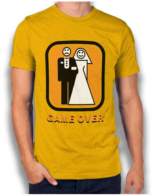 Junggesellen Game Over T-Shirt gelb L