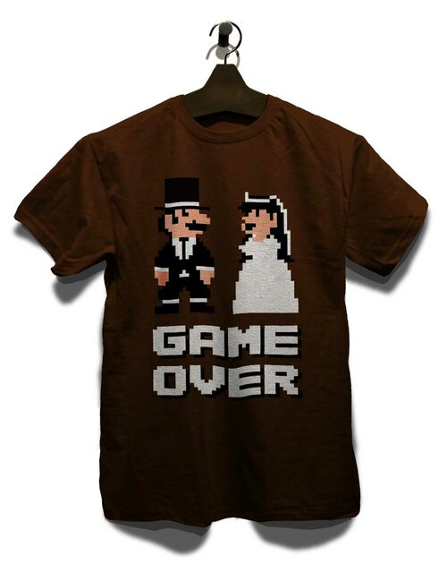 8 Bit Junggesellen Game Over T-Shirt brown L
