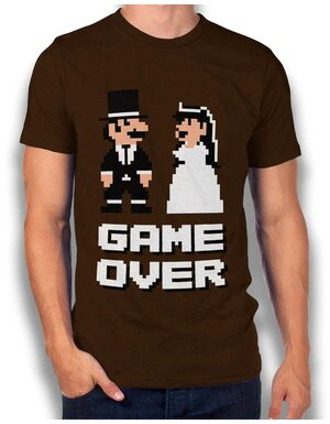 8 Bit Junggesellen Game Over T-Shirt braun L