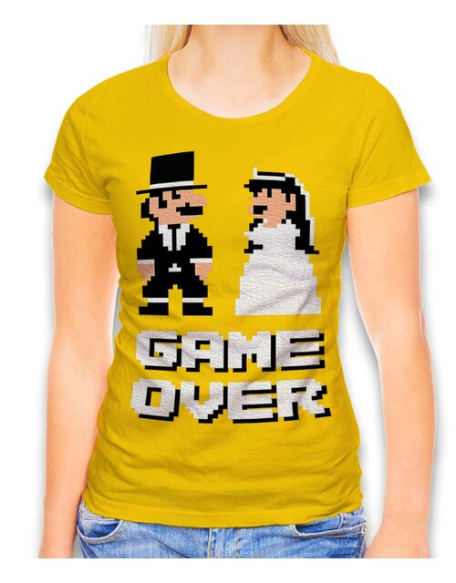 8 Bit Junggesellen Game Over Womens T-Shirt yellow L