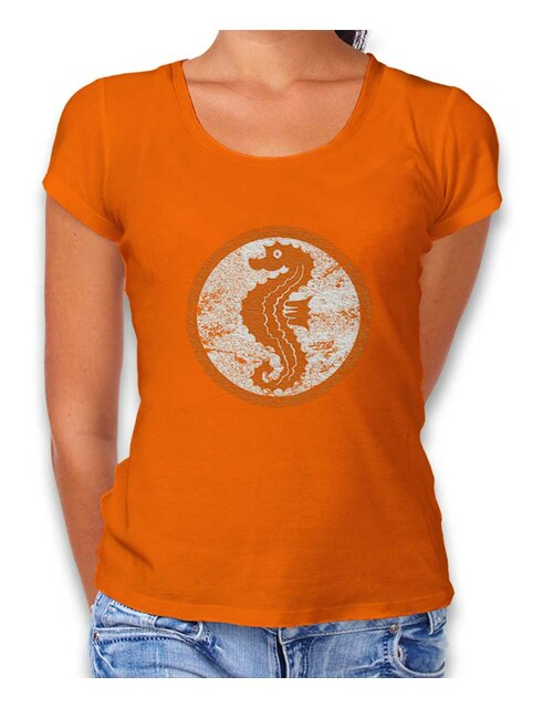 Seepferdchen Logo Vintage Damen T-Shirt orange L