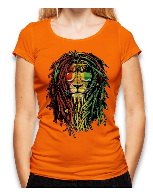 Rasta Lion Womens T-Shirt orange L