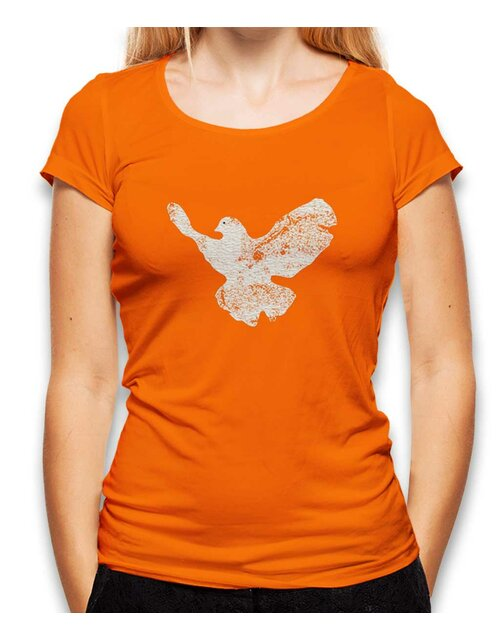 Friedenstaube Vintage Damen T-Shirt orange L