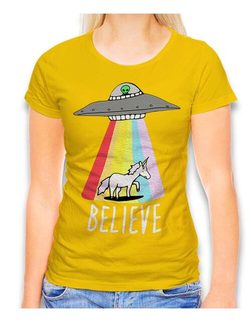 Believe Ufo Unicorn Damen T-Shirt gelb L