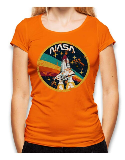 Nasa Space Shuttle Vintage Damen T-Shirt orange L