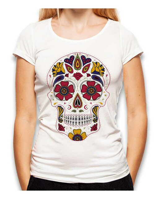 Flower Skull Damen T-Shirt weiss L
