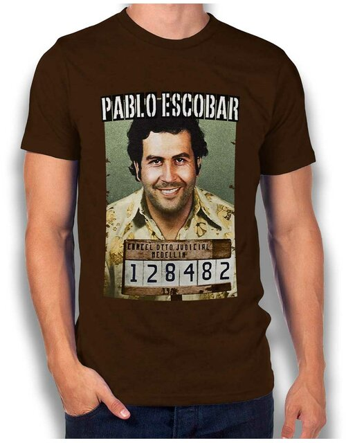 Pablo Escobar Mugshot T-Shirt brown L