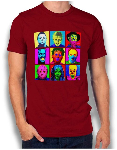 Horror Pop Art T-Shirt bordeaux L