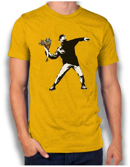 Banksy Flower Hooligan T-Shirt gelb L