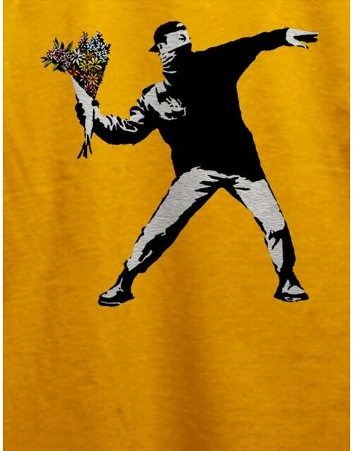 Banksy Flower Hooligan T-Shirt yellow L
