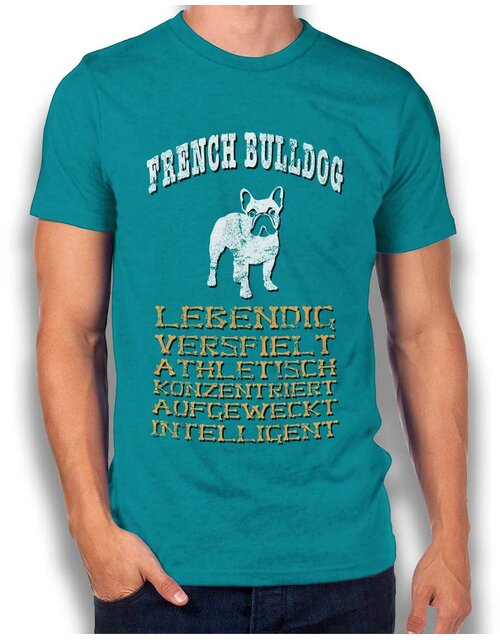 Hund French Bulldog T-Shirt tuerkis 2XL