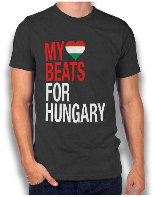 My Heart Beats For Hungary T-Shirt dunkelgrau S