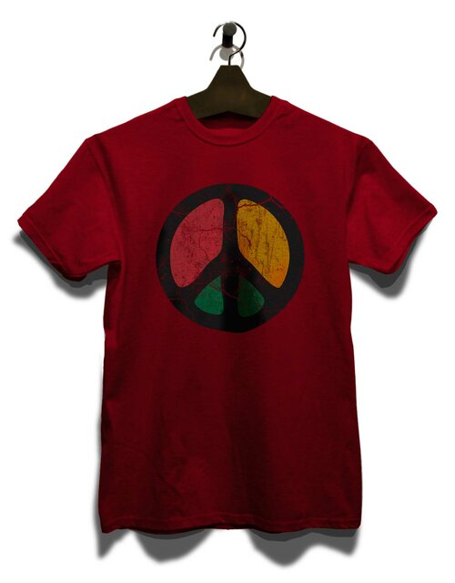 Peace Vintage T-Shirt bordeaux L