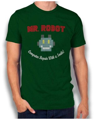 Mr Robot Computer Repair With A Smile T-Shirt dunkelgruen L