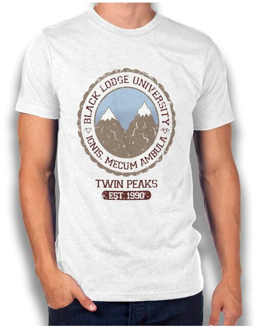 Black Lodge University 1 T-Shirt weiss L